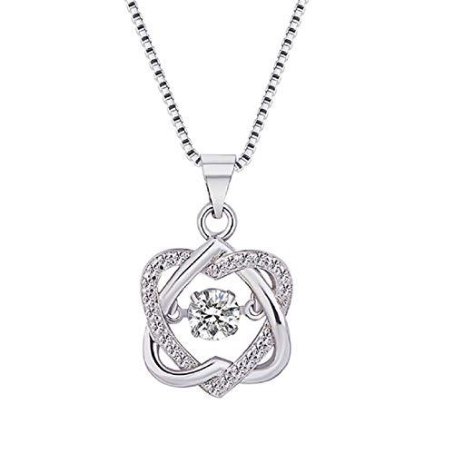 Halskette, Barlingrock Frauen platiniert Smart Heart Studded Anhänger Halskette Liebe Platin Schlüsselbein Kette Schmuck Geschenke für Mädchen Frauen