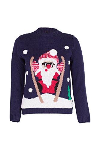 Noroze Jungen Mädchen Unisex Weihnachten 3D Pullover Kinder Xmas Sankt Schneemann Rentier Pinguin Pullover Pulli (Weihnachtsmann Marine, 9-10 Jahre) (Mädchen Tee Crewneck Langarm)