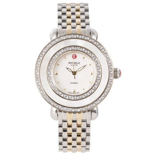 Michele Womens Cloette Gold and Silver Tone Diamond Detail Watch