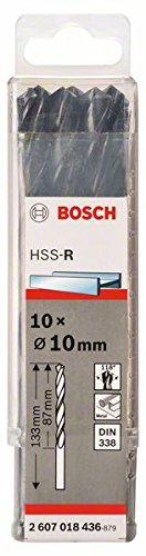 Bosch 2607018436 Forets à métal HSS-R 10 Pièces, Noir, 10.0