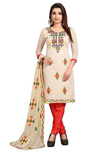 Sretan Women's Chanderi Cotton Un Stitched Dress Material ( Embroidered off white...
