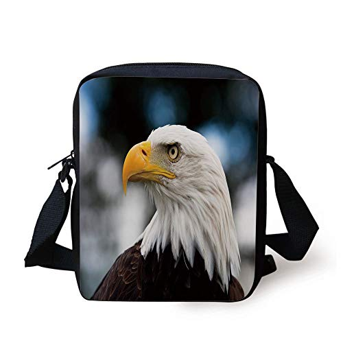 the Head of Freedom Symbol in America with Blurred Background Decorative,Dark Brown Marigold Blue Print Kids Crossbody Messenger Bag Purse ()