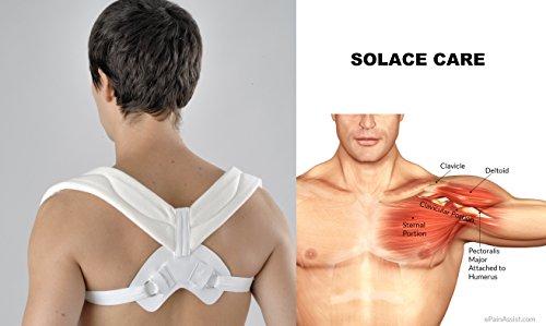 Wirbelsäule-stütze (verstellbar Schlüsselbein Haltung Unterstützung für collar-bone Verletzungen–Schlüsselbein Hilfe Bandage schwachen Schulterblatt Muskeln AC Halsband Wirbelsäule, Schmerzen–Fraktur/Haltung Bücken Schulter Support durch Solace Care–Unisex)