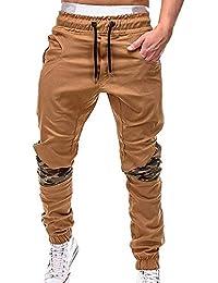 OEAK Pantalon de Sport Homme Coton Casual Loisir Jogging Running Large Mode Cargo Chino de Travail