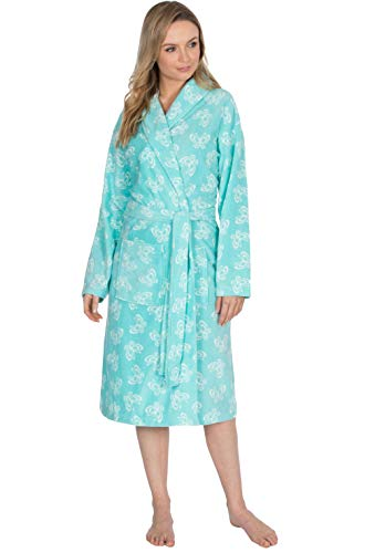 Ladies Polar Fleece Dressing Gown Bath Robe Wrap Spa Gift Light Supersoft ( Blue Butterfly 3930daa0e