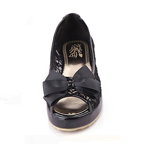 COOLCEPT Femmes Mode Slip On Sandales Peep Toe Chaussures With Bowknot Noir