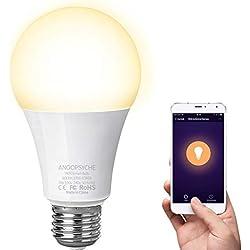 Ampoule Connectée LED E27 Ampoule WIFI Ecologique 9W Blanc Compatible Avec Alexa Google Home IFTTT Télécommande Par Smartphone ANOOPSYCHE [Classe énergétique A+]