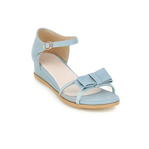 VogueZone009 Donna Punta Aperta Finta Pelle Scamosciata Puro Sandali Azzurro