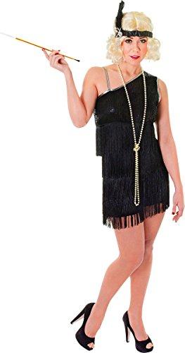 Erwachsene 1920er Fancy Club Party Charleston Fransen Damen komplett Flapper Kleid - 1920er Charleston Schwarz Flapper Fancy Dress Kostüm