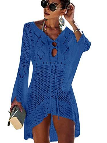Copricostume da bagno donna in maglia uncinetto estate abito da spiaggia bikini cover up camicetta maglia tunica kaftan top (one size, a - blu)