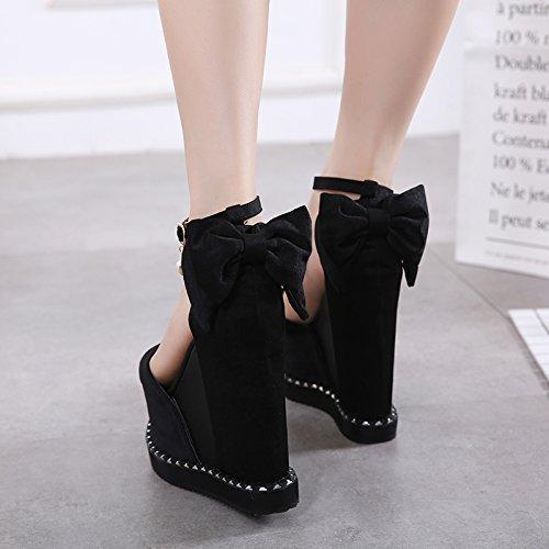 GTVERNH-il nero scarpe con tacchi di sesso femminile la primavera e l'estate sola scarpa con spessore inferiore super sandali tacco alto,36 Thirty-five