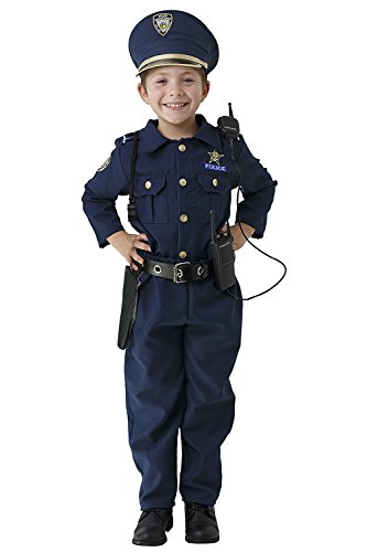 Dress up america costume da poliziotto deluxe - set composto da camicia, pantaloni, cappello, cintura, fischietto, fondina per pistola