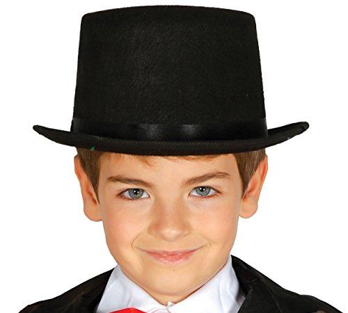 Guirca Schwarzer Zylinder Hut für Kinder Karneval Fasching Zauberer Magier ()