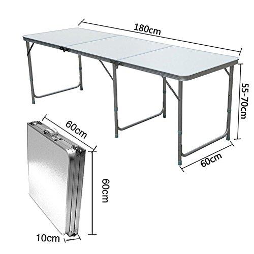 Lospu HY Aluminium Klapptisch Campingtisch 180cmx60cm Gartentisch Beistelltisch Falttisch Picknicktisch Alutisch faltbar (1.8M)
