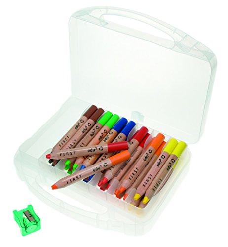 Unbekannt edu³ edufirst Wachsmalkreidenbuntstifte, Etui, 36 Stück + 3 Spitzer (Spitzer Box)