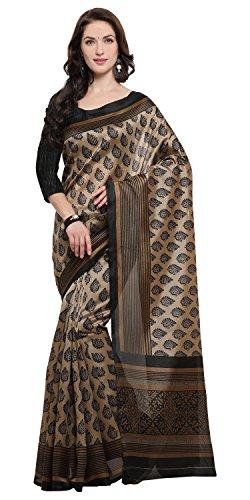 Rajnandini Women's Brown Jute Silk Printed Saree