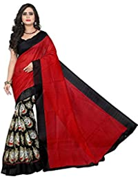 Nirmla Fashion Bhagalpuri Cotton Silk Saree With Blouse Piece(Saree For Black Durga_Free Size)