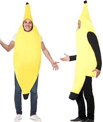 Party-Teufel Bananenkostüm Herren Bananaman Anzug Banane Kostüm Männer Bananenanzug Bodysuit Einheitsgröße Junggesellenabschied