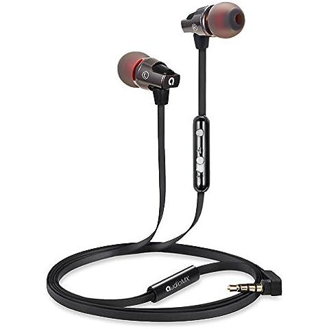AUDIOMAX Auricolari Cuffie Sportive Stereo Musica in-ear con Isolamento di Rumore e con Microfono e Controllo del Volume per iPhone, iPod, iPad e Smartphone Android Universali, EM-7A, Nero