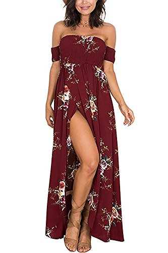 Yieune Sommerkleider Damen Blumen Maxi Kleid Off Shoulder Abendkleid Strandkleid Party Schulter Kleider
