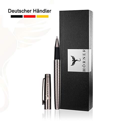 HÖRNER URBAN - Hochwertiger Tintenroller I Schwarz Silber aus Metall I in edler Geschenkbox -