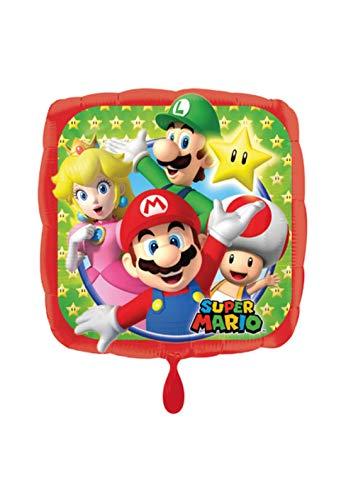 lienballon - Super Mario Bros Motiv mit Luigi, Prinzessin Peach Toad - 45cm - perfekte Geschenkideen zum Geburtstag Valentinstag Hochzeit, Party Dekoration, Rot ()