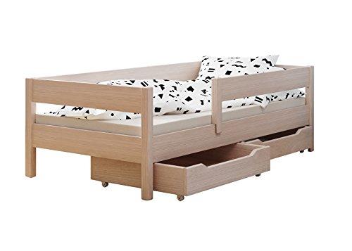 Letto singolo per bambini con cassetti e materasso, in 4 colori e diverse dimensioni -, legno, bleached oak, 160x80