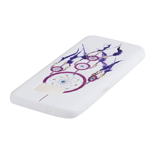 Voguecase® für Apple iPhone SE 5 5S 5G hülle, Schutzhülle / Case / Cover / Hülle / TPU Gel Skin (Gelb/Lila Traumfänger) + Gratis Universal Eingabestift Weiß/Lila Traumfänger