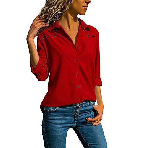 VJGOAL Nouveau Femmes Plein Chemisier Chemisier Chic Femme V Cou Pure Couleur Bouton Manches Longues Plus Taille Tops Blouse LâChe (FR-48/CN-4XL,Roug