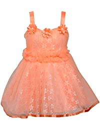 Chipchop Kids Girls Partywear Peach Lace and Net Dress - 6 Months, 12 Months, 1 Year, 2 Years, 3 Years, 4 Years, 5 Years