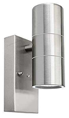 Outdoor Up Down Wall Light Dusk Till Dawn Sensor Stainless Steel Finish ZLC0203DTD produced by Zenon Lighting Collection - quick delivery from UK.