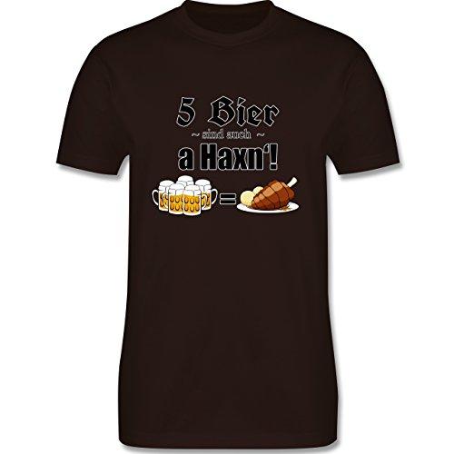 Oktoberfest Herren - 5 Bier sind auch a Haxn'! - Herren Premium T-Shirt Braun