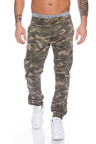 Husaria Jeanshose Army Jeans Camouflage Militär Herren Chino Beige Braun Military Cargo 4204 (34, Camouflage Beige) (Boxer Jugend Über)