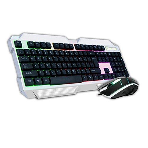 Von hinten beleuchtete Gaming-Tastatur und Maus Tastatur mit Kabel verdrahtet Maus USB-Buchse eingestellt , black (Drahtlose Von Hinten Beleuchtete Tastatur Maus)