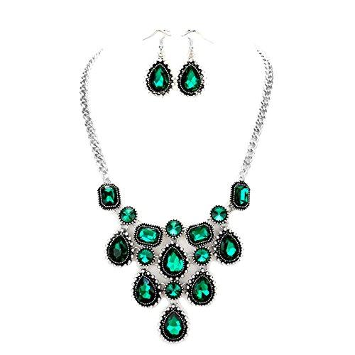 Statement joyas Juego Set Collar Pendientes Pendientes de cristal verde esmeralda verde Emerald