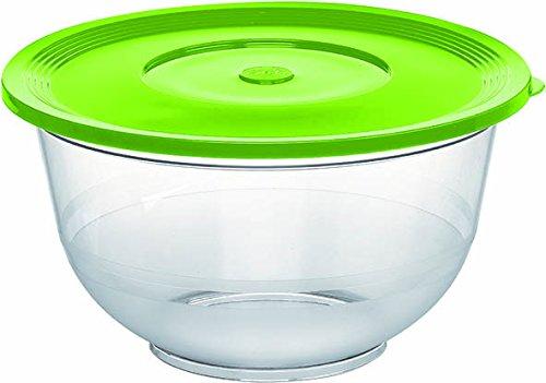 Emsa 513511 Salatschale mit Deckel, Glasklarer Kunststoff, 3.5 Liter, Ø 26 cm, Transparent/Limette, Superline