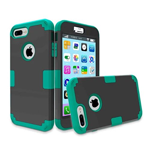 iPhone 7 plus hülle, Lantier 3 in 1 [weicher harter Tough Case] [Anti Scratch] [Stoßdämpfung ] Leichte Schlank Voll Body Armor Schutzhülle für iPhone 7 Plus (5,5 Zoll) Mint Green + Grau Black+Green