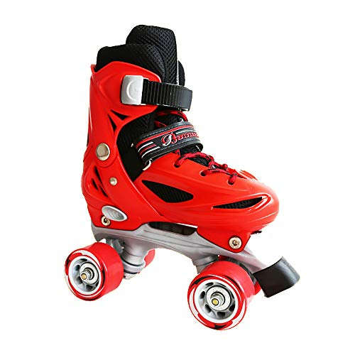 CHHBOXCHH Kinder Quad Skate,Jugend Rollschuhe,Retro Rollschuhe,Geeignet FüR 3-12 Jahre Alt, Einstellbare Größ,Red-S