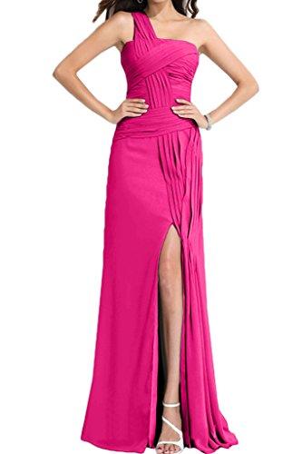 Gorgeous Bride Beliebt Ein-Traeger Etui Lang Chiffon Schlitze Ballkleid  Prom Kleid Abendmode Fuchsia