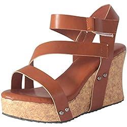 Sandalias Romanas Chanclas para Mujer Cuña Sandalia de Talón Abierto para Mujeres Zapato de Tacón con Suela Gruesa Romano Remache 2019