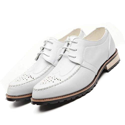 MSSugar Herren Business Schuhe Kleid, Derby Pointed Toe Lace Up Leder Oxford Hochzeit modische Uniform Vintage Office,White,40 -