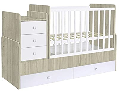 Kidsaw Polini Kids Simple 1100 Cot Bed with Drawer Unit, White & Elm