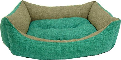 iOn Cama cuna para perro o gato, bicolor verde y gris, 65x55 cm