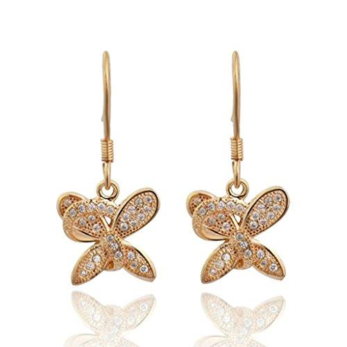 Bishiling 925 Sterling Silber Ohrhänger Damen Schmetterling Kristall Ohrringe Rosegold