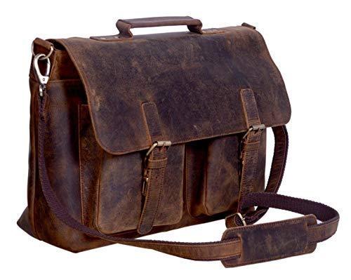 komalc 38,1cm Retro Buffalo Hunter Leder Laptop Messenger Bag Büro Aktentasche College Tasche