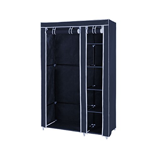 House of Quirk Fancy and Portable Foldable Closet Wardrobe Cabinet Portable Multipurpose Clothes Closet Portable Wardrobe Storage Organizer with Shelves 3.5 Feet Folding Wardrobe Cupboard Almirah Foldable Storage Rack Collapsible Cabinet (Blue) (Need to Be Assembled)