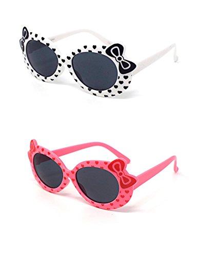 Pig Kostüm Kleinkind Peppa (1 x weiß 1 x Rosa farbige Kinder Girls stilvolle Designer-Stil Sonnenbrillen hohe Qualität mit einem Bogen und Herz-Stil UV400 Sonnenbrille Schattierungen UVA)