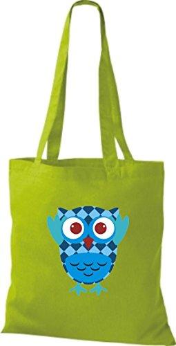 ShirtInStyle Jute Stoffbeutel Bunte Eule niedliche Tragetasche mit Punkte Karos streifen Owl Retro diverse Farbe, blau lime