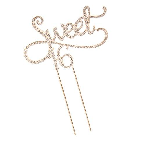 enaufsatz Metall Tortenaufsatz Geburatstag Jahrestag Party Deko - Gold Sweet 16, 12 x 18 cm ()