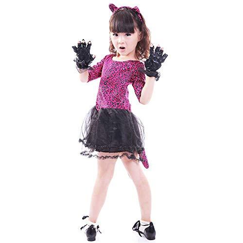 Mädchen Kostüm Der Unterwelt Aus - GLXQIJ Halloween Kinder Mädchen Kostüme Kurzarm Cute Cat Dress Up Performance Kostüme,Pink,120CM